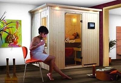 Bodin - Karibu Sauna inkl. 9-kW-Bioofen - ohne Dachkranz - von Woodfeeling GmbH - Du und dein Garten