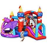 Happy Hop - Castello gonfiabile a forma di drago, incl. 30 palline, picchetti per ancoraggio e kit di riparazione
