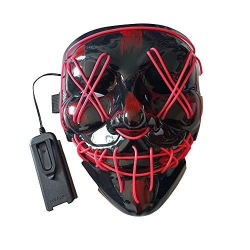 BaronHong led licht Cosplay Maske Halloween erschreckende EL leuchten leuchtende Glow Masken für Festival Dance Parties kostüm (lila, m)
