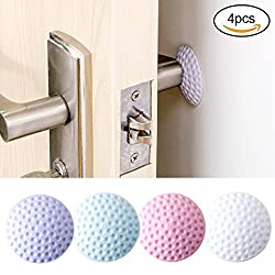 Wall Bumper Protector, Self Adhesive Door Knob Wall Guards Stoppers Door Handle Bumper Rubber Stop 4 Pcs (4 pieces)