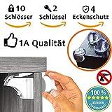 Magnetisches Schrankschloss-Set Kindersicherheit Schranksicherheit Ohne Bohren, 10 Schlösser + 2 Schlüssel + 2 Installationwerkzeuge + 4 Mal Eckenschutz GRATIS
