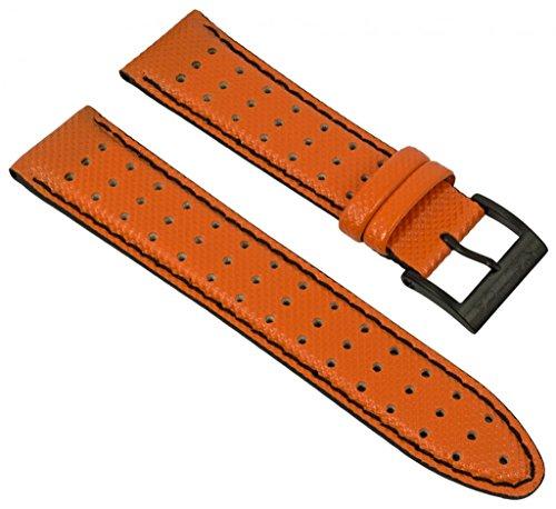 Uhrenarmband Nautica PU/Leder orange mit schwarzer Naht 22mm für A12553G