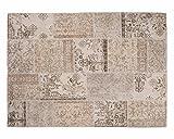 Sukhi ELA: Vintage Blanco Apagado Alfombra Patchwork Diseño Hecho a Mano en Turquía Recolored (170cm x 240cm / 5' 6.9'' x 7' 10.4'')