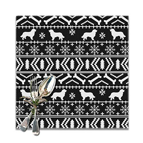 Nicegift Placemats,Bernese Mountain Dog fair isle Christmas Silhouette Black and White Heat-Resistant Washable Cotton Placemats,Polyester Linen Dining Table Mats for Kitchen,Set of 6,12x12 inch -