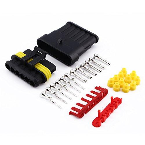 6 Pin Way Wasserdichte Elektrische Draht Stecker 1,5mm Terminals Schrumpfschnellverriegelung Kabelbaum Steckdosen für KFZ Motorrad Lkw