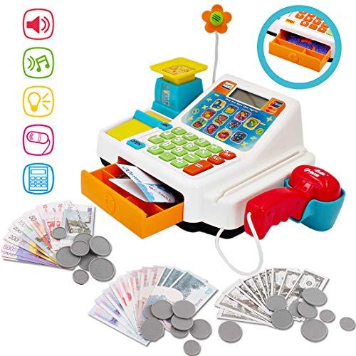 deAO Früherziehungs-Spielset -Elektronische Registrierkasse mit Scanner und Mikrofon
