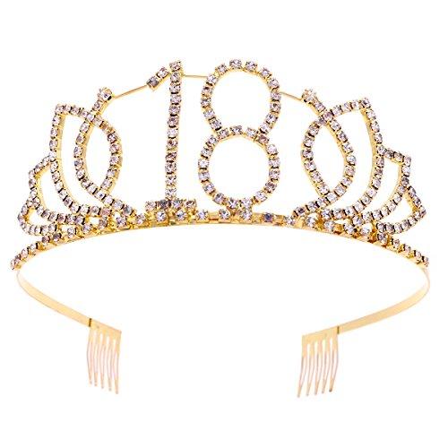 Frcolor corona per compleanno 18 anni cerchietto diadema principessa donna tiara strass cristallo con pettine (oro)