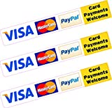 3x Paypal Visa mastercard Carte Crédit paiement Sticker vinyle imprimé Shop Taxi