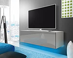 tv schrank lowboard h ngeboard simple mit led blau wei. Black Bedroom Furniture Sets. Home Design Ideas