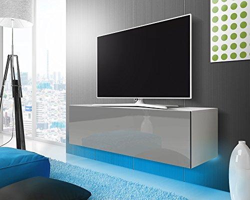 TV Meuble Lana (blanc mat/gris brillant) à suspendre avec l'éclairage LED bleu