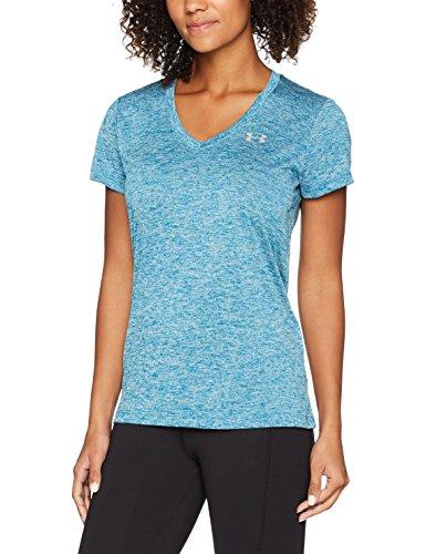 Under Armour Damen Tech Ssv-Twist Fitness-T-Shirts & Tanks, Bayou Blue, L