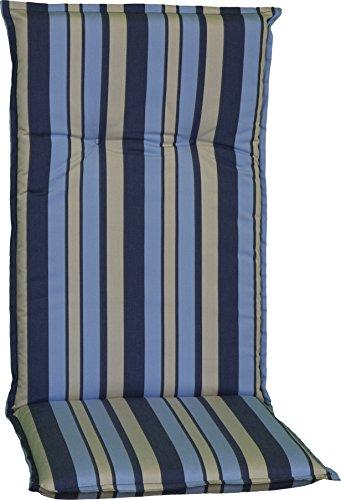 Beo Gartenstuhlauflage Sitzkissen Polster Stuhlkissen für Hochlehner Streifen Hellblau Blau Grau