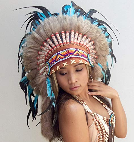 Little-Big-Horn Indianer Kopfschmuck, Federhaube, War Bonnet, Bulzeye Headdress, Coiffe Indienne