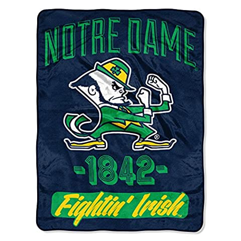 NCAA Notre Dame Fighting Irish NCAA Varsity 116,8 cm von 152,4 cm Micro Raschel Überwurf Decke, blau, 116,8 x (Irish Ncaa)