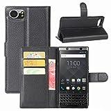 BlackBerry Keyone Hülle, HualuBro [Standfunktion] [All Around Schutz] Premium PU Leder Leather Wallet Handy Tasche Schutzhülle Case Flip Cover mit Karten Slot für BlackBerry Keyone (Schwarz)
