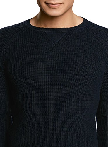 oodji Ultra Herren Baumwoll-Pullover mit Rundhalsausschnitt Blau (7900N)