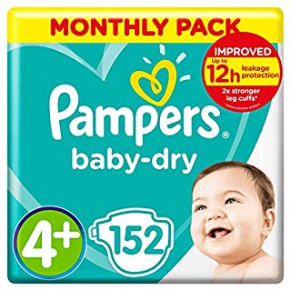 Pampers Baby-Dry Size 4+, 152 Nappies, 10-15 kg, Air Channels for Breathable Dryness Overnight, Monthly Pack (B00AR9HX8G) | Amazon price tracker / tracking, Amazon price history charts, Amazon price watches, Amazon price drop alerts