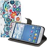 kwmobile Wallet Case Kunstlederhülle für Samsung Galaxy S4 - Cover Flip Tasche in Hippie Design mit Kartenfach und Ständerfunktion in Mehrfarbig Blau Weiß