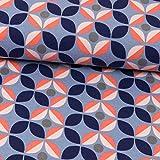 Stoffe Werning Baumwolljersey Retro-Blüte Jeansblau Damenstoffe - Preis Gilt für 0,5 Meter