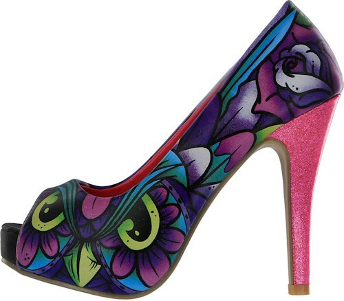 Iron Fist Iron Fist WHAT A HOOT Glitter GLAM Owl Pin Up PEEP TOES Heels, Scarpe col tacco donna Multicolore multicolore