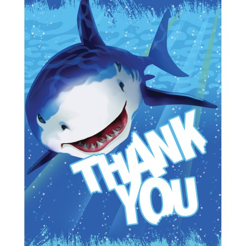 Unbekannt Creative Converting Shark Splash 8 Count Thank You Karten