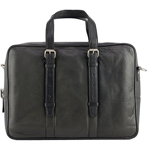 Echt Leder Aktentasche Schultertasche Umhängetasche DIN-A4 Laptoptasche 15,6 Henkeltasche Messenger Bag schwarz Schwarz