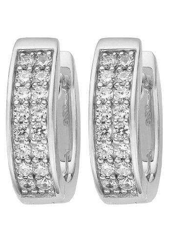 JETTE Silver Damen-Creole 925er Silber 32 Zirkonia One Size 86734877