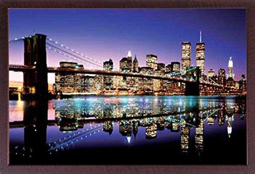 Manhattan-walnuss (empireposter New York - Brooklyn Bridge Colour - bunt Foto Manhattan New York NYC USA - Grösse 91,5x61 cm + Wechselrahmen, Shinsuke® Maxi MDF Walnuß, Acryl-Scheibe)