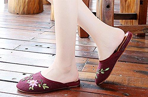 Beyond_AV® Damen Linen Ballet Pumps Slippers Embroider Flat Shoes Schuhe Red