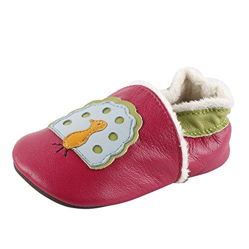 Freefisher Lauflernschuhe, Krabbelschuhe, Babyschuhe, Winter gefüttert - in vielen Designs ( 18-24 Monate, Pfau auf Rosa)