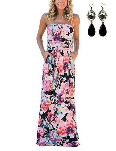 carinacoco Damen Bandeau Bustier Kleider mit Blüte Drucken Lange Sommerkleid Abendkleid Partykleid Cocktailkleid Geblümt M
