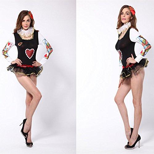 nigin der Herzen Pique Dame Temperament Diskothek Clownkostüm Kleid Cosplay (Halloween Königin Der Herzen)