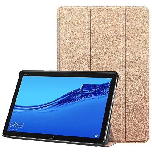 Faltbar Stand Leder Hülle für Huawei MediaPad T5, 10-Zoll Folio PU Ultra Slim Fit Schutz Auto Schlaf/Wach Magnetisch Flip Tablette Fall für Media Pad T5 10.1 2018 Schale mit Ständer (Champagner) -