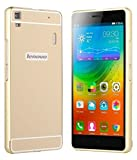 IND Combo Pack Acrylic Mirror Back Cover with Case for LENOVO A7000 / K3 NOTE - Gold With Free Tempered Glass Screen Protector(Combo Offer)
