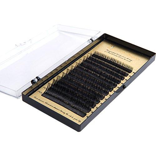 Lunamoon estensioni ciglia finte singoli false eyelashes naturale volumi salone professionale uso perfetto per il trucco fatti a mano c-curl spessore 0.07mm/0.2mm/0.25mm lunghezze miste 7-14mm (0.07mm)