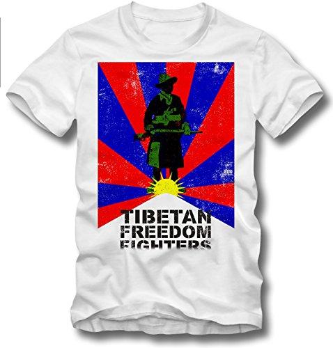URBAN KULT T SHIRT TIBETAN FREEDOM FIGHTERS DALAI LAMA FREE TIBET FLAGGE FLAG REBEL, S (Flag Rebel T-shirt)