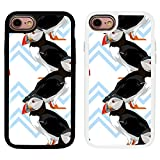 Puffin Bird Pattern Printed For Apple iPhone 7 & 8 Classic Grip TPU Gel Bumper Back Case Cover By Humblebee London - Black - HIP7-BK-S6290