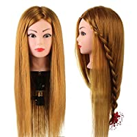 """Neverland Training Head, 24"""" Brown Hairdressing Head 50% Real Human Hair Cosmetology Mannequin Manikin Doll with Makeup Function+ Hair Stying Braid Set+ Free Clamp"""