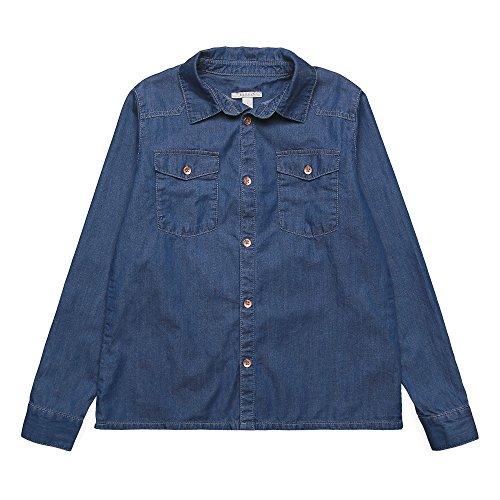 ESPRIT KIDS Mädchen Bluse RK12015, Blau (Stoned Denim 475), 164 (Herstellergröße: L)