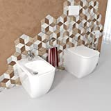 Sanitari bagno Bidet e Vaso WC Legend filomuro in ceramica con coprivaso sedile softclose