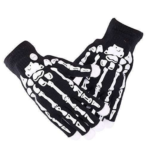 Halloween Handschuhe Skelett Fingerhandschuhe LED Beleuchtung Vollfinger Handschuhe Hexe Erwachsene Kreative Fahrradhandschuhe Teufel Kostüm Zubehör Cosplay Maskerade Karneval Kostüm (Kreative Kostüm Für Erwachsene)