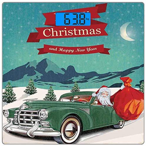 Precision Digital Body Weight Scale Weihnachtsschmuck Ultra Slim Gehärtetes Glas Personenwaage Genaue Gewichtsmessungen, Santa in Oldtimer mit Spielzeugsack Schnee Winter Sternennacht Neujahr, -