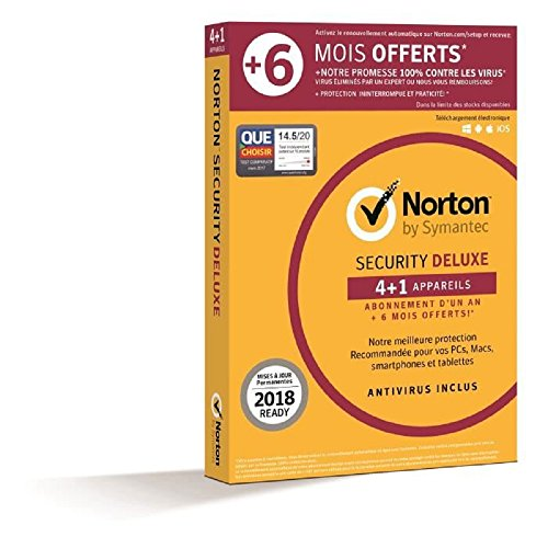Norton Security Deluxe 2018 | 4+1 appareils | 1 an + 6 mois | PC/Mac/iOS/Android | Téléchargement