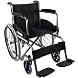 Mobiclinic, Rollstuhl, Faltrollstuhl, Modell Alcazaba, ergonomischer Sitz und Rückenlehne, Schwarz, Sitzbreite 46 cm