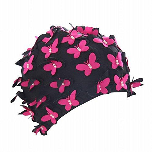 Moresave Frauen Badekappe Vintage Blumen Blütenblatt Schwimmen Hut Badehaube Strand Kostüm - Vintage Nylon Rosa