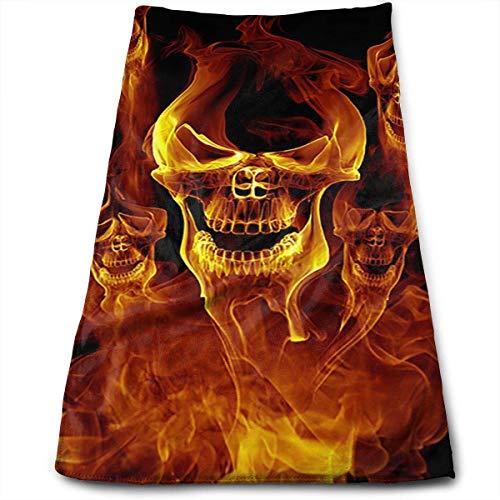 WERERT Eco-Friendly Handtücher Red Burnning Flame Skeleton Skull Head Microfiber Hand Towels,Super Absorbency,Multipurpose,Quick Drying,Maimum Softness,Machine -