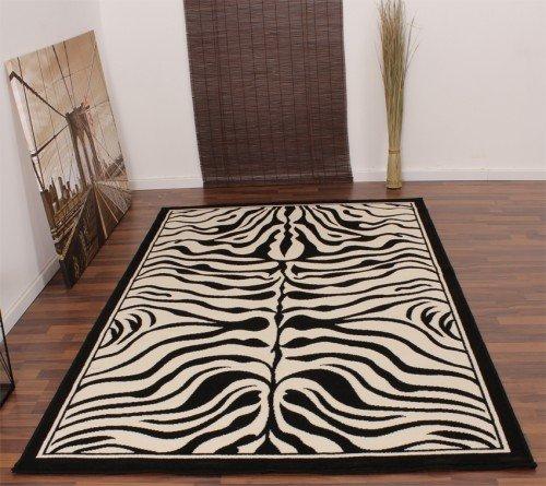 Alfombra De Diseño Moderna Con Dibujo Cebra En Blanco Y Negro Nueva *En Embalaje, Grösse:190x280 cm