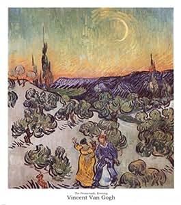 Vincent Van Gogh – La passeggiata al chiaro di luna Stampa Artistica (58,42 x 66,04 cm)