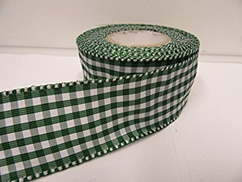 2 metres x 38mm Wired Florist Gingham Ribbon, Forest, Dark Green, Double sided check 38 mm VAT