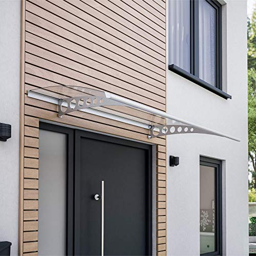 Schulte V1116-20-21 Style Plus Pultbogenvordach, 160 x 90 cm, 3 mm Polycarbonat-Abdeckung klar, Wandhalter Circle Edelstahl V2A, Vordach mit Alu-Regenrinne